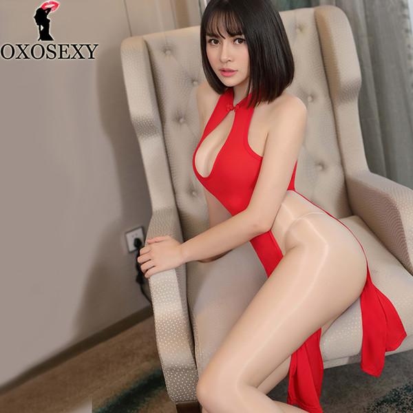4 Couleur Noir Rose érotique Hot Lingerie sexy pour femmes robe cheongsam Halter High Cut ouvert Costumes sexy Crotch Pole Dance K5701