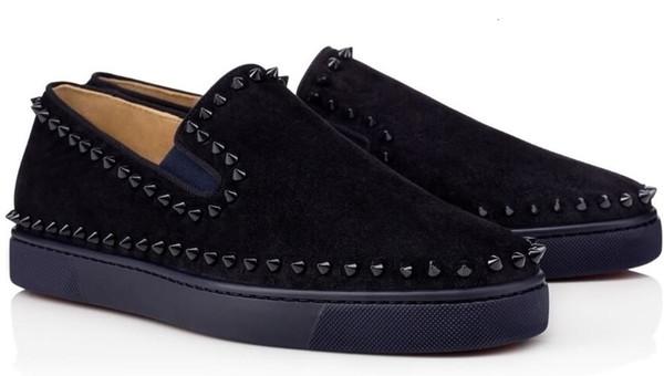 2019 Última Designer inferior Red sapatilhas ocasionais Shoes Lows preto das mulheres dos homens Spikes Flats Loafers Pik Boat Genuine Couro Design Shoe L5