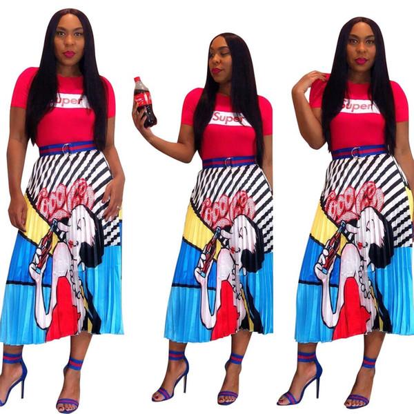 2019 novas mulheres dos desenhos animados listras 3d impressão do vintage meados de bezerro comprimento saias plissadas vintage moda casual desgaste ativo saia de África