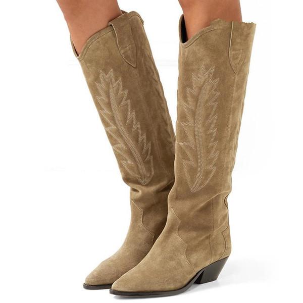 عارية الأسود الجلد المدبوغ مطرز الركبة الكعوب العالية أحذية نسائية مدبب تو سبايك هريرة الشتاء الطويلة أحذية شقق فارس أحذية
