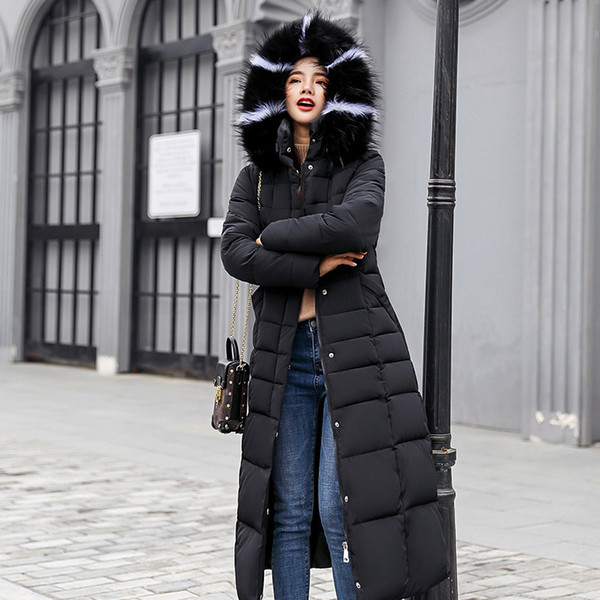 Stand Collar Faux Fur Hat Sashes Long Women Coat 2018 Winter Plus Size Solid Cotton Padded Female Parkas Long Thick Lady Outwear