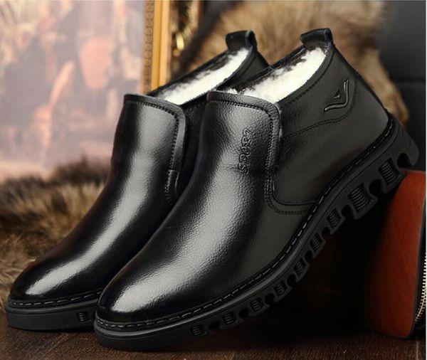 Men Genuine Leather Winter Boots Warm Wool Snow Fur Ankle Boots For Men Business Dress Shoes Men da044