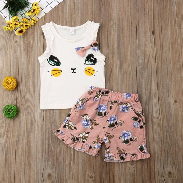Emmababy 2019 Sommer Baby Mädchen Kleidung 2 Stücke Infant Baby Mädchen Cat Print Tops Weste + Shorts Outfits Kleidung Set