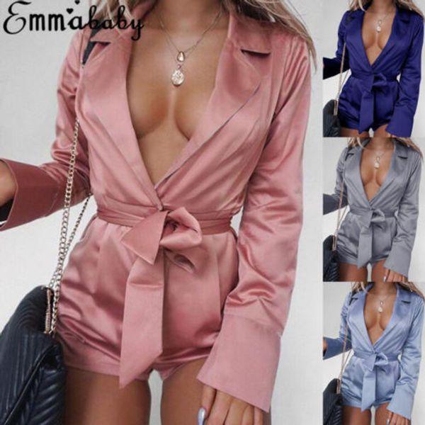 Le plus récent des femmes satin col en V Kimono Combinaions Tunique sexy Bodys Jumpsuit de nuit
