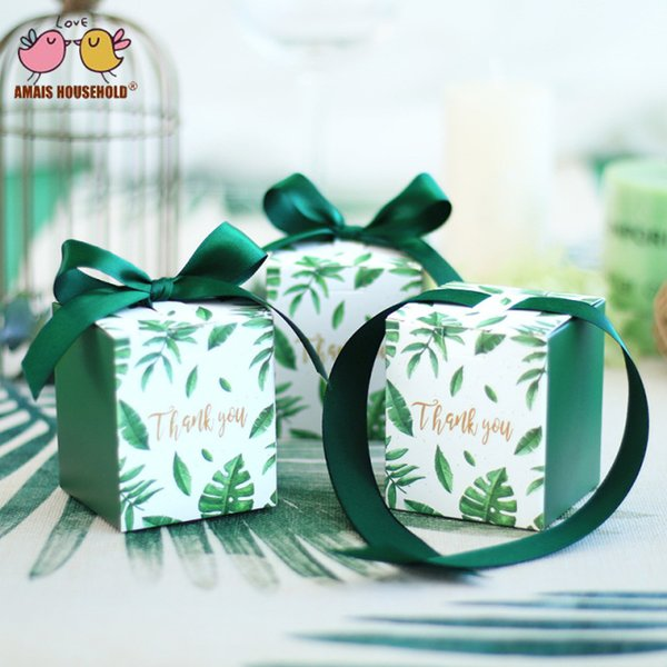 New Wedding Party Favors Thank You Gifts Candy Box Forest Green Boxes With Ribbon For Party 100PCS/lot Free Shipping