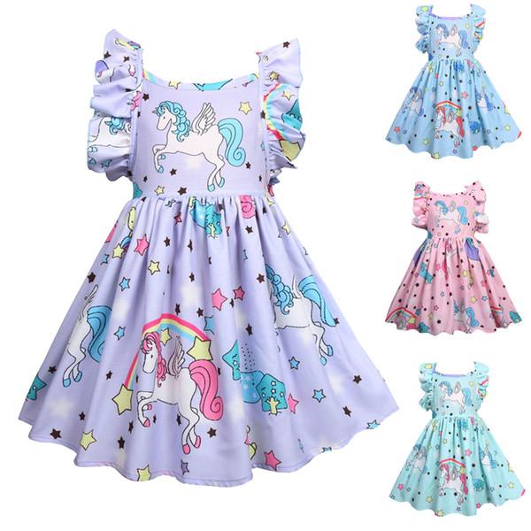 4 цвета единорог для девочек платья ИНС горячая летних девочек Dresseskids дизайнерская одежда для девочек детская одежда JY16