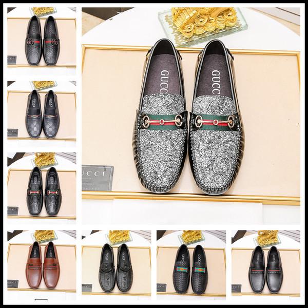 19ss Italian Shoes Shoes Casual Brand Slip On Formal Luxury Shoes Uomo Mocassini Mocassini in vera pelle marrone