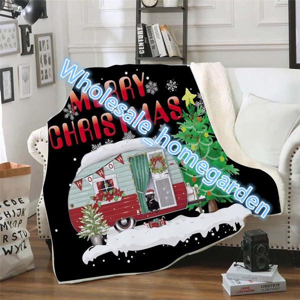 Miúdos de natal Cobertor 130 * 150 cm Presente Personalizado Marca de Natal Xmas cobertor Sherpa cobertor de vinho tipo de cobertores dia dos desenhos animados