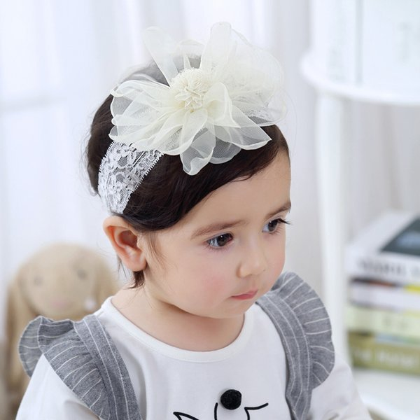 Lace Elastic Headbands Colorful Yarn Big Flower Headwear Gift For Kids Girls Adjustable Head Wraps Children Accessories