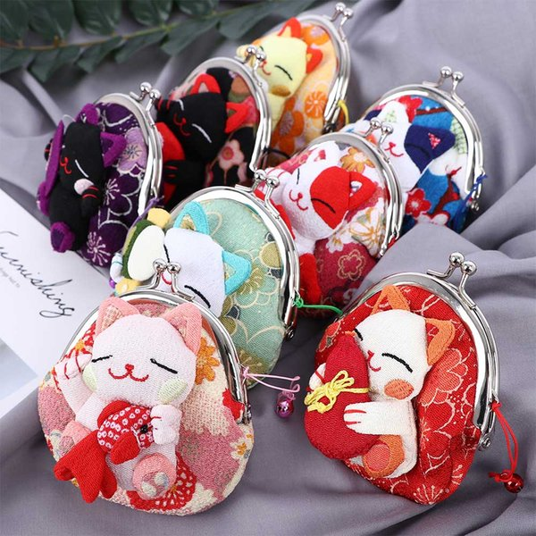 1Pc Coin Purse Japanese Style Kawaii Cartoon Kimono Lucky Cat Fabric Wallet Pouch for Kids Children Card Holder Key Money Bags