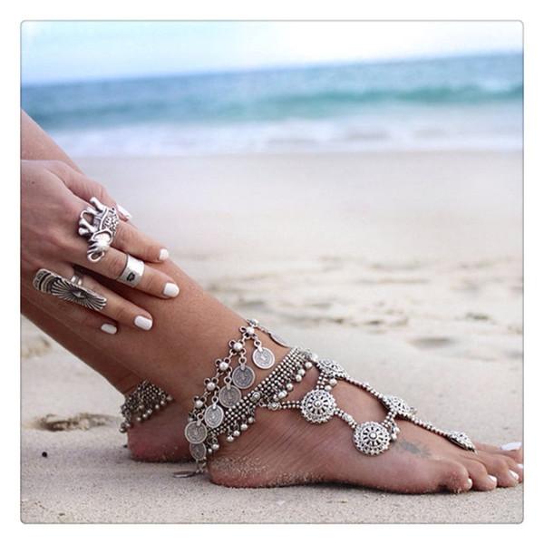 Mode Femmes Bijoux Grand Bracelets De Cheville Vintage Ethnique D'été Plage Multicouche Boho Ethnique Hippie Tassel Pièce Pieds Nus Sandales Corps Pied Bijoux