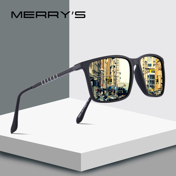 MERRYS DESIGN Herren Classic Square HD Polarized Sonnenbrille Aluminium Beine UV400 Schutz S8133