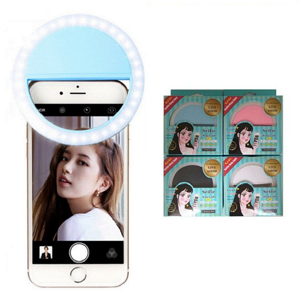 LED Selfie Ring Light For iPhone For Xiaomi For Samsung Huawei Portable Flash Camera cell Phone Case Cover Photography Enhancing live show