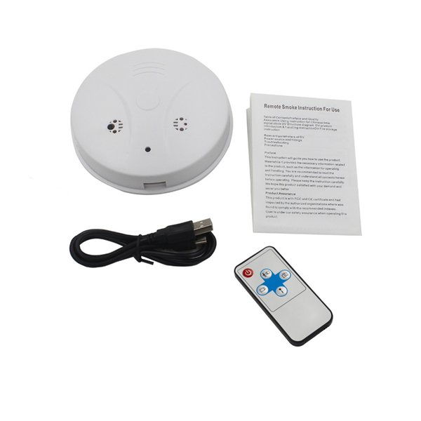 Smoke Detector Pinhole camera DVR with Remote control Motion Detection 30fps 2.0MP mini camcorder video recorder Cam white free shipping