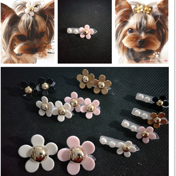 2019 New Pet Grooming Accessories Daisy Pet Hair Clips Dog Hairpin Headwear Teddy Yorkshire Hair Clips PP clip