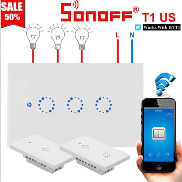 Alexa Google Ana Sayfa ile Sonoff T1 AB ABD UK Akıllı Wifi Duvar Işık Anahtarı Dokunmatik / WiFi / RF / APP Uzaktan Akıllı Ev Duvar Dokunmatik Anahtarı