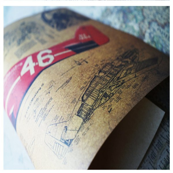 Flugzeugstruktur Retro Poster Design Zeichnungen Kraft Papier-Wanddekoration Wandaufkleber