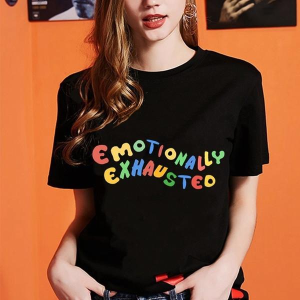 Coloré imprimé Emotionnellement épuisé T-shirt unisexe grunge noir T Mode Tumblr été Hauts Streetwear Hipster T-shirt
