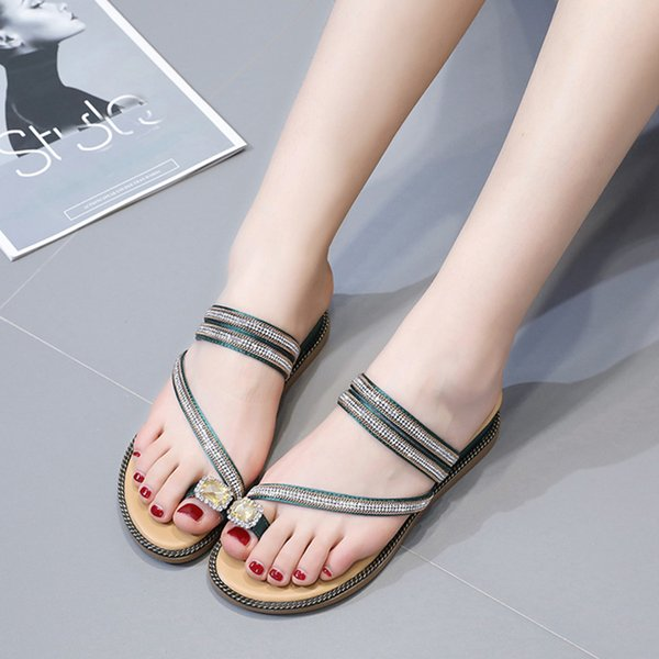 Lady's Vintage Spring Summer Women Ladies Fashion Crystal Solid Wedges Casual Slipper Shoes Student fashion Sandals