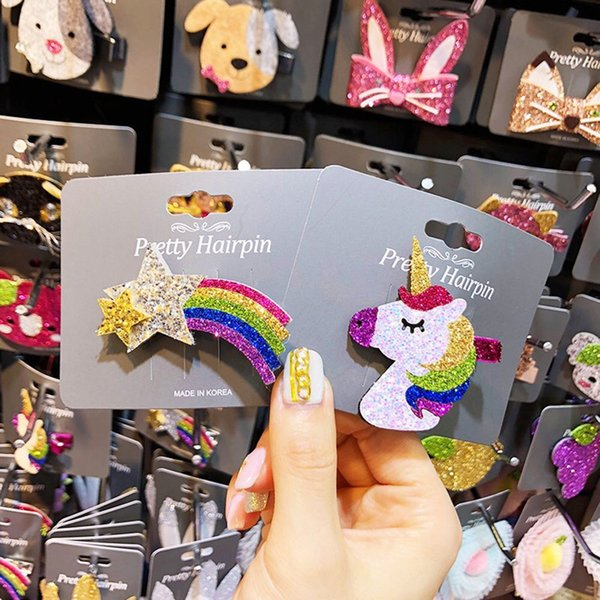 1Pcs New Cute Korean Sequins Rainbow Unicorn Gril Hair Barette Children's Cute Cartoon Head Clamp Hair Pin Snap Clip Accessories