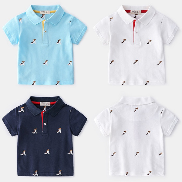 Summer-style Korean Version Of Childrens Wear Boys And Children Printed Puppy Cotton Short-sleeved POLO Shirt Wholesale