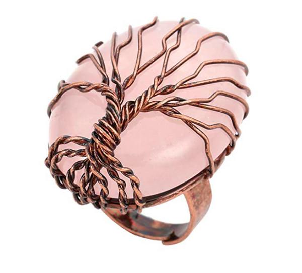 FYJS Kupfer vergoldet Wire Wrap Baum des Lebens Oval Resizable Ring natürliche Rose Pink Quarz Ring für weibliche Geschenk