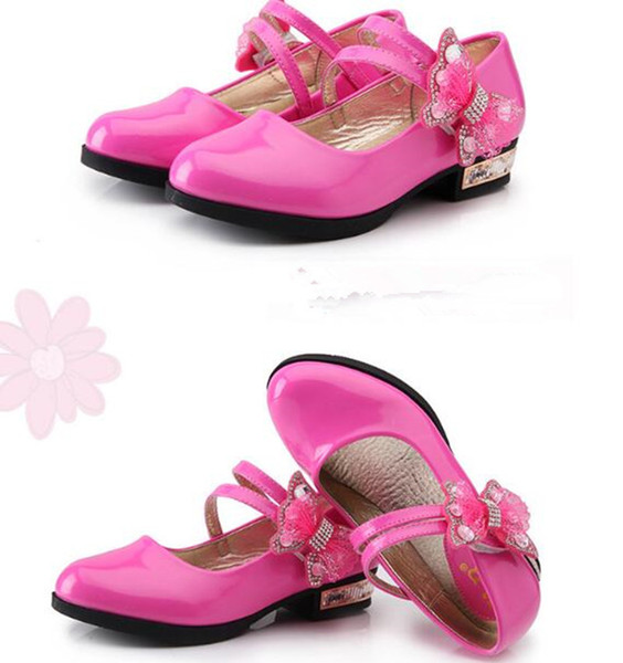 Red black pink Childrens leather shoes Girl Low heeled bows Rhinestone Princess dancing shoes Spring Autumn Wedding Party