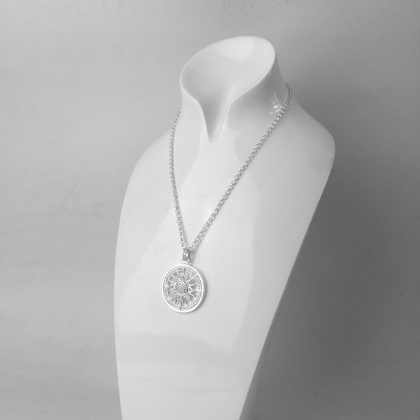 Muffiy Women's Sun Pendant Silver White Cz Pav Hollow Round Amulet 2018 Fashion Chain Necklace Accessories Pendant Jewelry