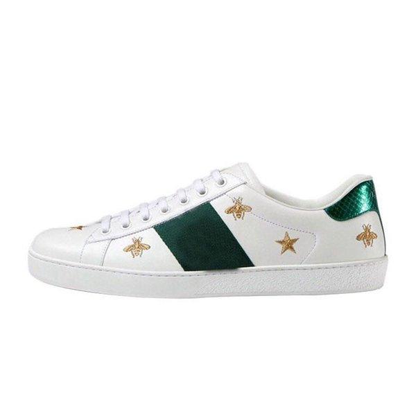 Clssic Pequena Abelha Homens Mulheres Sneaker Mocassins Moda Bordado Low Cut Branco Sapatos Baixos Sapatos de Grife Unisex Zapatillas Formadores A11
