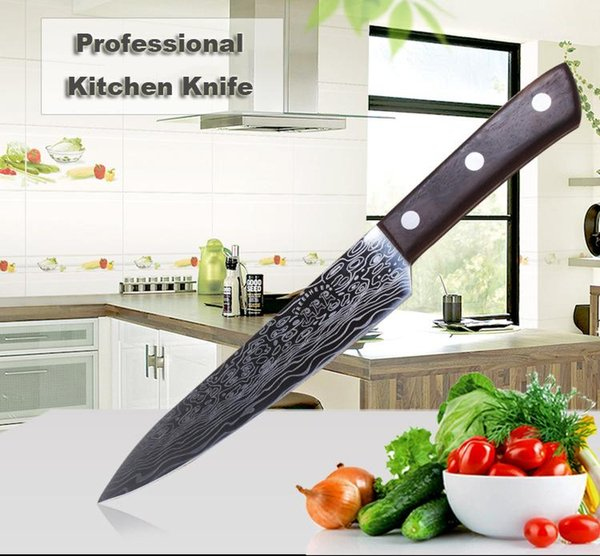 Meat Vegetable Sushi Knives Stainless Steel Sharp Cleaver Damascus Chef Knife 9 Inch Color Wooden Anti Slip Handle Kitchen Knife BH1474 TQQ