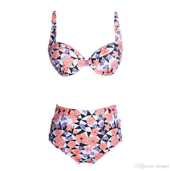 Yüksek Bel Mayo Bikini Kadınlar Push Up Bikini Set Mayo Vintage Retro Çiçek Baskı Mayo Beachwear Biquini