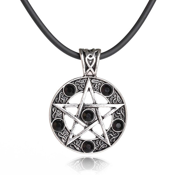 Retro Pentagram Pentacle Star Pendant Necklace Round Blaack Red Crystal Leather Chain Cord Necklaces for Women Men Jewelry Gifts