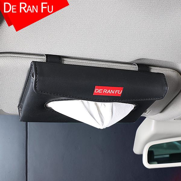 E-FOUR En Cuir De Voiture Visière Porte-Mouchoirs Montage Hanging Holder Holder pour siège de voiture Retour Multi-usage papier serviette Cover Case Cars