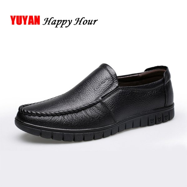Mens Business Shoes Breathable Genuine Leather Loafers Dad Shoes Male Brand Men's Casual Cowhide Soft Comfortable A040