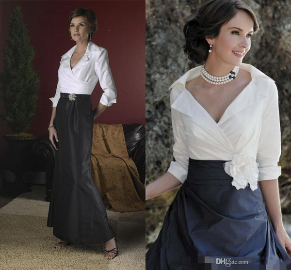 New Black And White Elegant Mother Of The Bride Dresses Long Sleeves Floor Length Taffeta Spring Mermaid A Line Formal Dress Evening Gowns