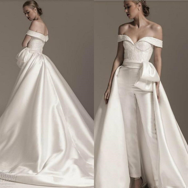 Vestidos De Casamento Estilo Sereia Modest Macacão 2019 Vestidos De Casamento Com Trem Destacável Lace Lantejoulas Fora Do Ombro Campo Vestidos De