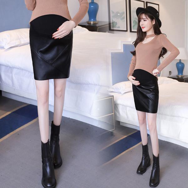 Mutterschaft Leder Kurze Kleider Frauen Designer Röcke Bauch Lift Schwangere Schwangere Kleider Femme Röcke Herbst Mantel 43