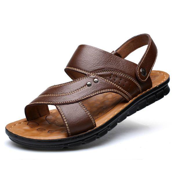 Dropshiping erkek Yaz Sandalet Hakiki Deri Rahat Slip-on Rahat Sandalet Moda Erkekler Terlik Zapatillas Hombre Boyutu