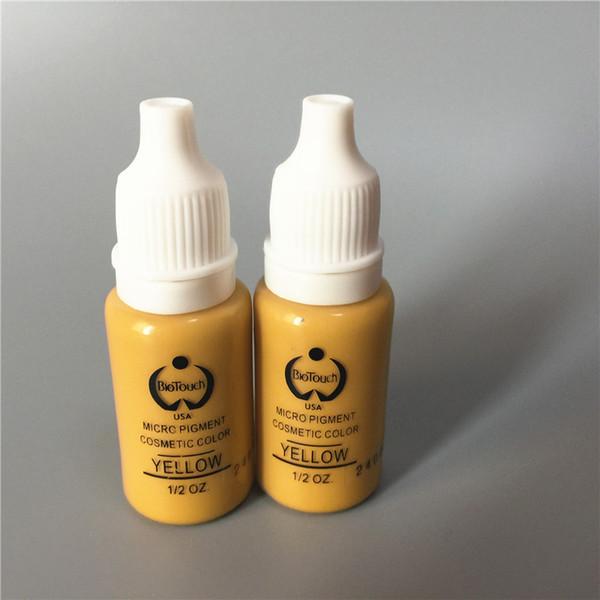 2 Unids Colores Amarillos Biotouch Maquillaje Permanente Micro Pigmento Cosmético Manual Tinta para Tatuaje 1/2 oz Para 3D Eyebrow Eyeliner Lip