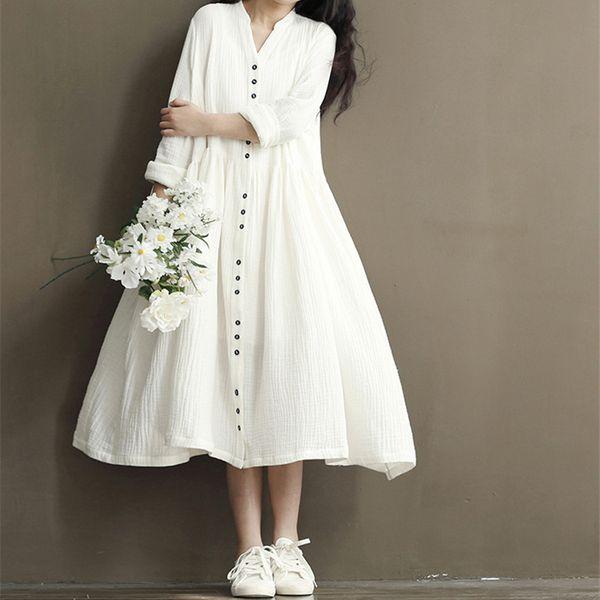 Johnature Cotton Linen White Color Women Dress Spring New Long Sleeve Stand Neck Loose Bat Sleeve Irregular Dresses Q190509