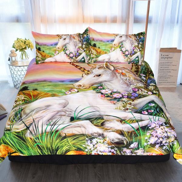 3D yağlıboya unicorn nevresim yatak simülasyon baskı ev tekstili her mevsim