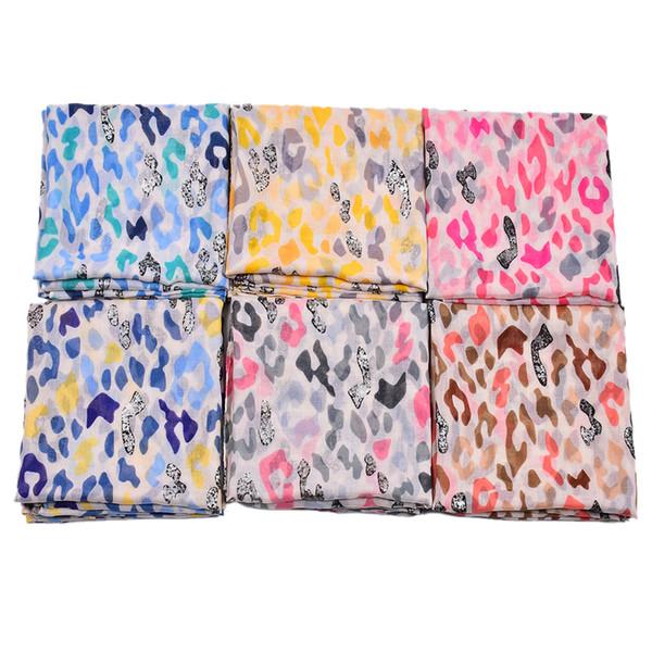 Newest Leopard Print Scarves Shawls 2019 Long Trendy Leopard Silver Foil Wrap Scarf Hijab Muffler Beach Scarf 6 Color Hot Sale Free Shipping