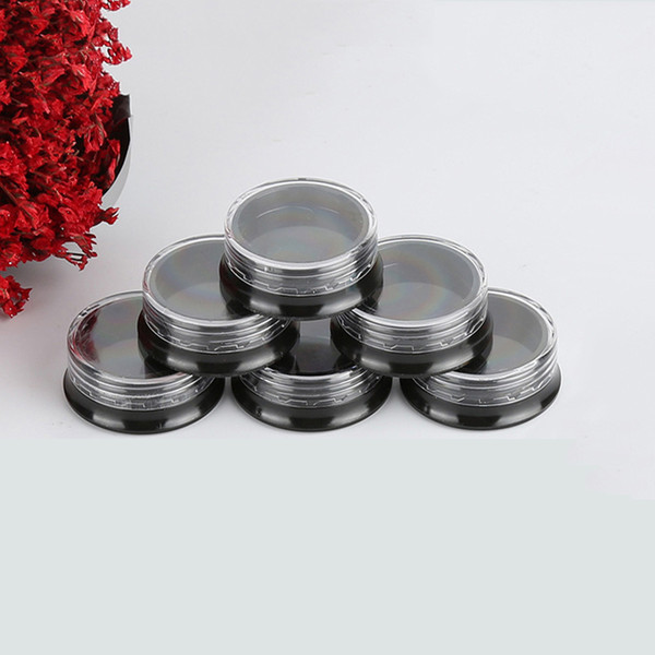 1000pcs 3g Round Clear Screw Cap Lid with Black Base empty Plastic Container Jars for Cosmetic Cream Pot Makeup Eye Shadow Nails Powder