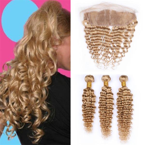 Deep Wave Curly honigblondes menschliches Haar mit Frontal Lace Closure # 27 Hellbraune Jungfrau-Haarwebart mit Fronten