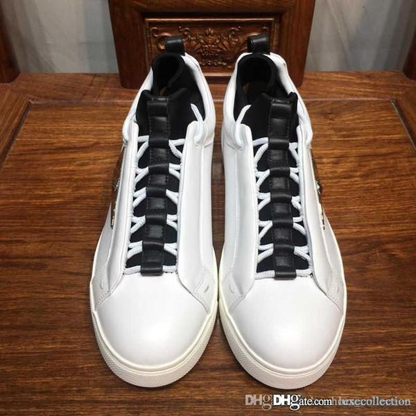 Sneakers uomo runner in pelle con occhi mostri, scarpe basse con suola in gomma Scarpe causali per uomini alla moda in movimento Taglia 38-45