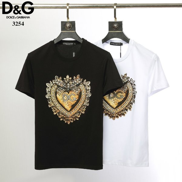 Men's T-shirt casual clothing material stretch clothes fashion classic heart-shaped printed beachwear short-sleeved men's T-shirt