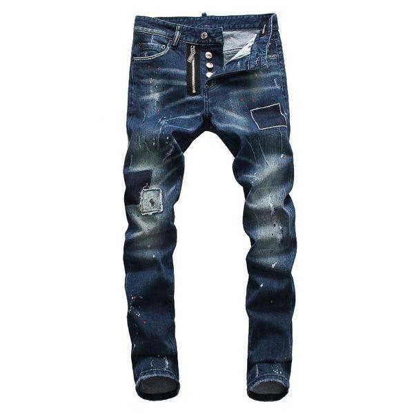 New 2019 Men Ripped Denim Tearing Jeans Navy blue Cotton fashion Tight spring autumn Men's pants A8010