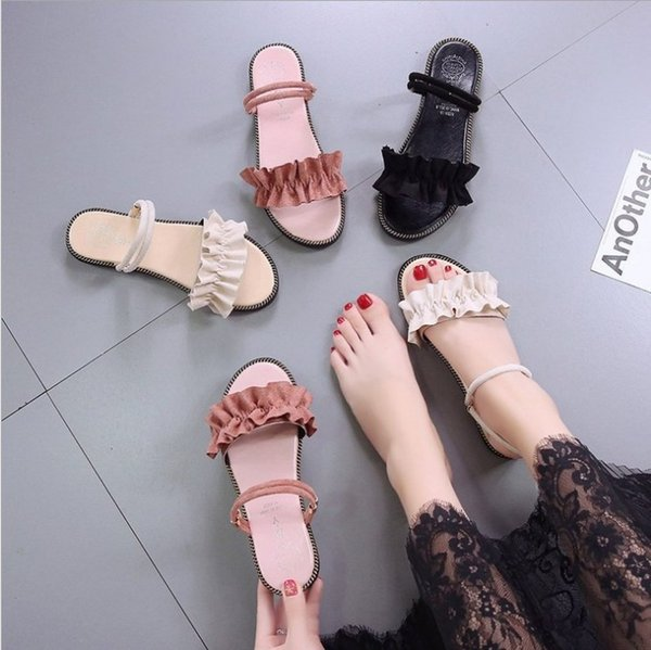 wholesale new style lady's summer fashion Sandals Korean simple student casual peep-toe sandals flat sandbeach vocation all-match slippers