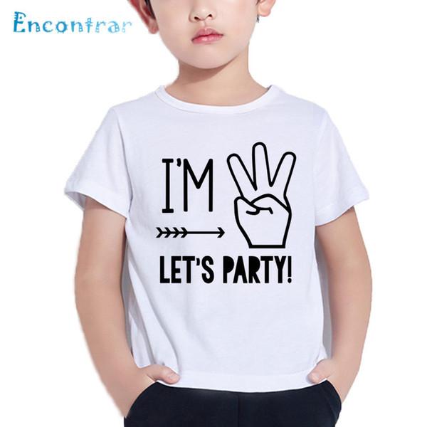 c5ff27840edb04 Ich bin 1 2 3 4 5 Let s Party Pattern Lustiges Kinder T Shirt Jungen    Mädchen Sommer Weiß Tops Baby Geburtstag Nummer Print T-Shirt