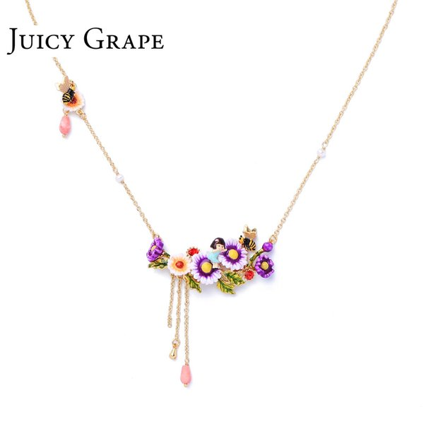 wholesale hand painted enamel glaze daisy water wave chain gem pendant for girl birthday gift